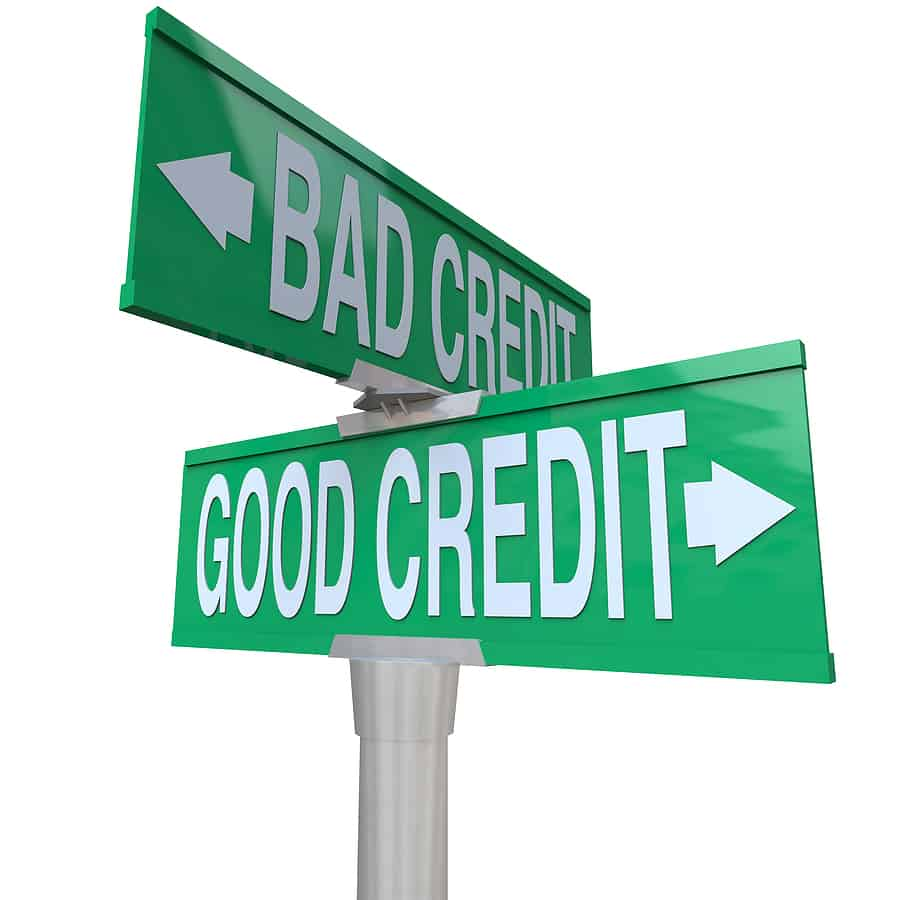 road sign of good credit one way and bad credit the other way